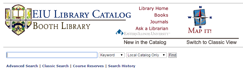 basic search of EIU library catalog, screenshot