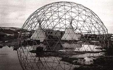 photo of tee-pees and geodesic dome