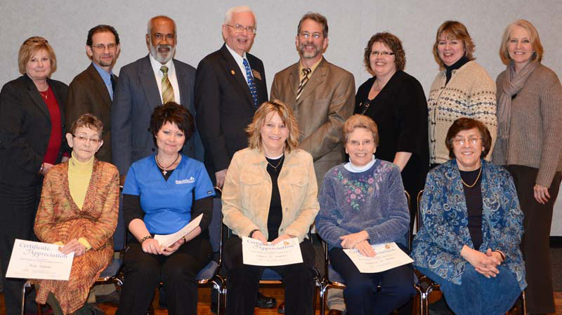 Sue Sallee, Mary Russell, Diana Ingram, Deanna Smith and Lucy Campanis; back row, Linda Coffey, Mike Watts, Belayet Khan, William Hine, Steve Lane, Paula Embry, Cathy Gray and Deborah Woodley.
