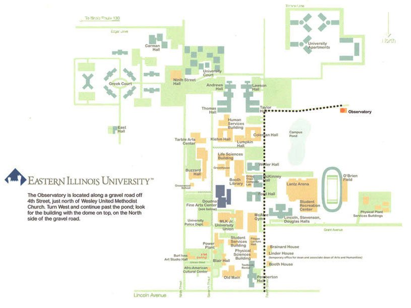 Eastern Illinois University :: Physics   Map to EIU Observatory